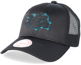 Charlotte Hornets Satin Current Black/Black Trucker - Mitchell & Ness