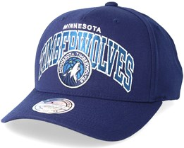 Minnesota Timberwolves Team Arch Pinch Panel Navy 110 Adjustable - Mitchell & Ness