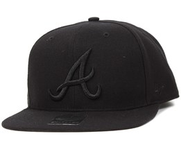 Atlanta Braves Sure Shot Black/Black Snapback - 47 Brand
