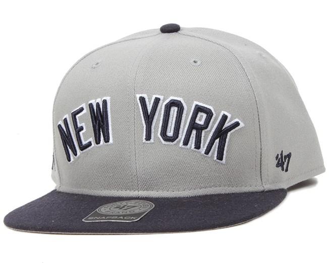 NY Yankees Script Side Grey Snapback - 47 Brand