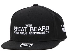 Responsibility Black Snapback - Bearded Man