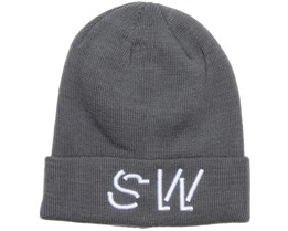 Folded Embroidery Grey Beanie - Somewear