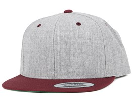 Heather Grey Maroon Snapback - Yupoong