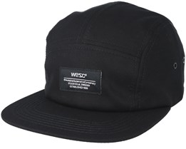 Solid 5 panel Black Strapback - WeSC