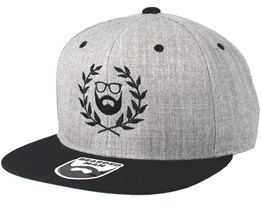 Caesar Logo Grey/Black Snapback - Bearded Man