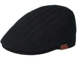 Herringbone Rib 507 Black Flat Cap - Kangol