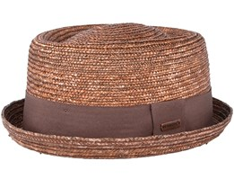 Wheat Braid Tan Pork Pie - Kangol
