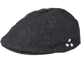 Denim Stitch Hawker Black Flat Cap - Kangol