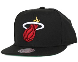 Miami Heat Wool Solid Black Snapback - Mitchell & Ness