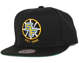 Golden State Warriors Wool Solid Black Snapback - Mitchell & Ness