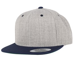 Heather Grey/Navy Snapback - Yupoong