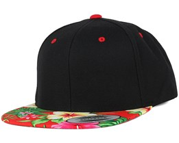 Hawaiian Black/Red Snapback - Yupoong