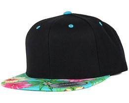Hawaiian Black/Aqua Snapback - Yupoong