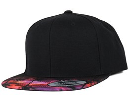 Sunset Peak Visor Black Snapback - Yupoong