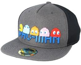 Pac-man Pixel Logo Characters Trucker Dark Grey Snapback -  Bioworld