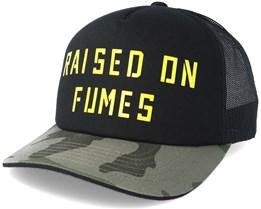 Raised On Fumes Black Vin Trucker Adjustable - Fox