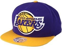LA Lakers XL Logo 2 Tone Purple Snapback - Mitchell & Ness