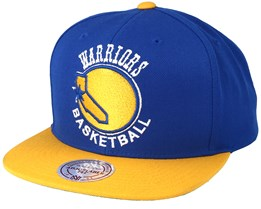 Golden State Warriors XL Logo 2 Tone Yellow/Blue Snapback - Mitchell & Ness