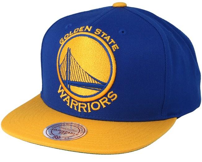 Golden State Warriors XL Logo 2 Tone Yellow Blue 2 Snapback - Mitchell    Ness 2d2fff766a95