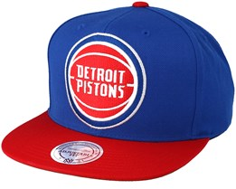 Detroit Pistons XL Logo 2 Tone Red/Blue Snapback - Mitchell & Ness