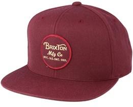 Wheeler Maroon Snapback - Brixton