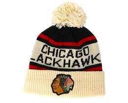 Chicago Blackhawks Cuffed Knit Natural/Black/Red Pom - Adidas