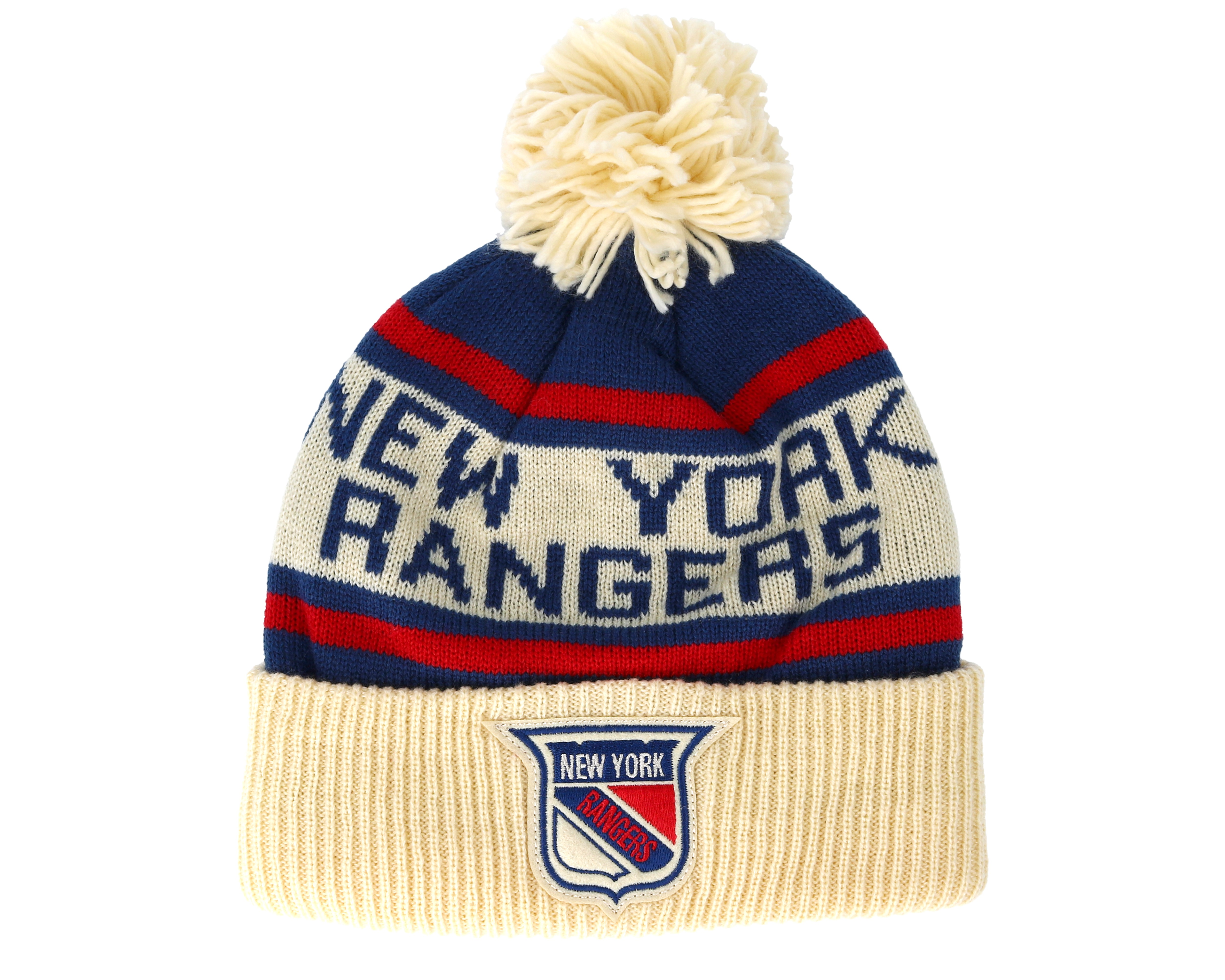 super popular 40fe9 4dc2f discount code for new york rangers cuffed knit natural blue red pom adidas  beanies 5456e e601c