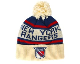 New York Rangers Cuffed Knit Natural/Blue/Red Pom - Adidas