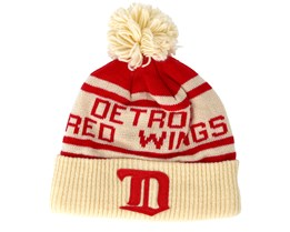 Detroit Red Wings Cuffed Knit Natural/Red Pom - Adidas