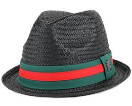 Luige Straw Black/Forest Green Fedora - Cayler & Sons