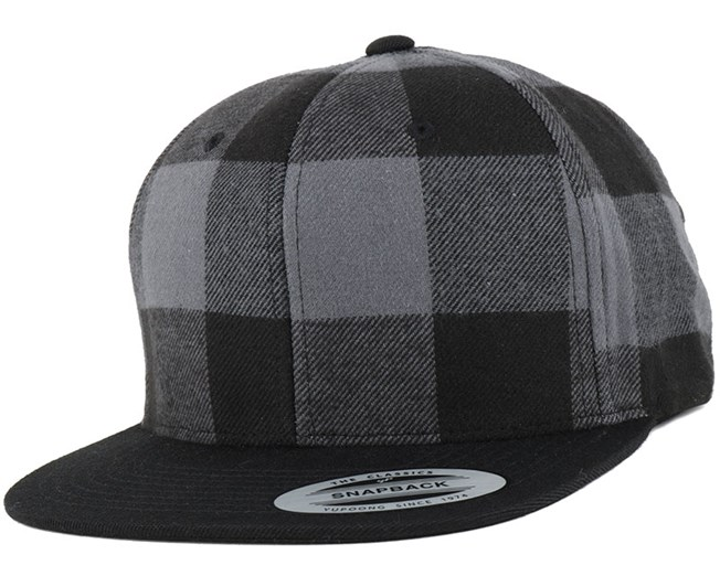 Checked Flanell Black/Grey Snapback - Yupoong