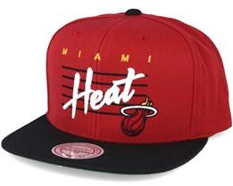 Miami Heat Cursive Script Logo Red Snapback - Mitchell & Ness