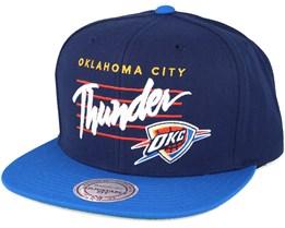 Oklahoma City Thunder Cursive Script Logo Navy Snapback - Mitchell & Ness
