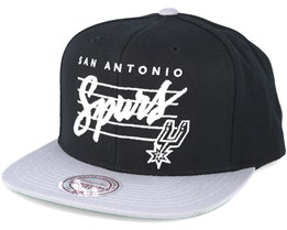 San Antonio Spurs Cursive Script Logo Black Snapback - Mitchell & Ness
