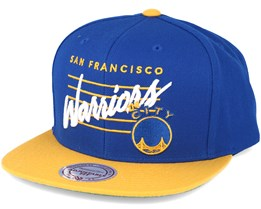 Golden State Warriors Cursive Script Logo Blue Snapback - Mitchell & Ness