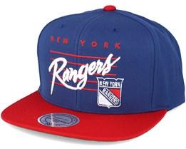 New York Rangers Cursive Script Logo Blue Snapback - Mitchell & Ness