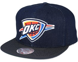 Oklahoma City Thunder Raw Denim 3T PU Snapback - Mitchell & Ness