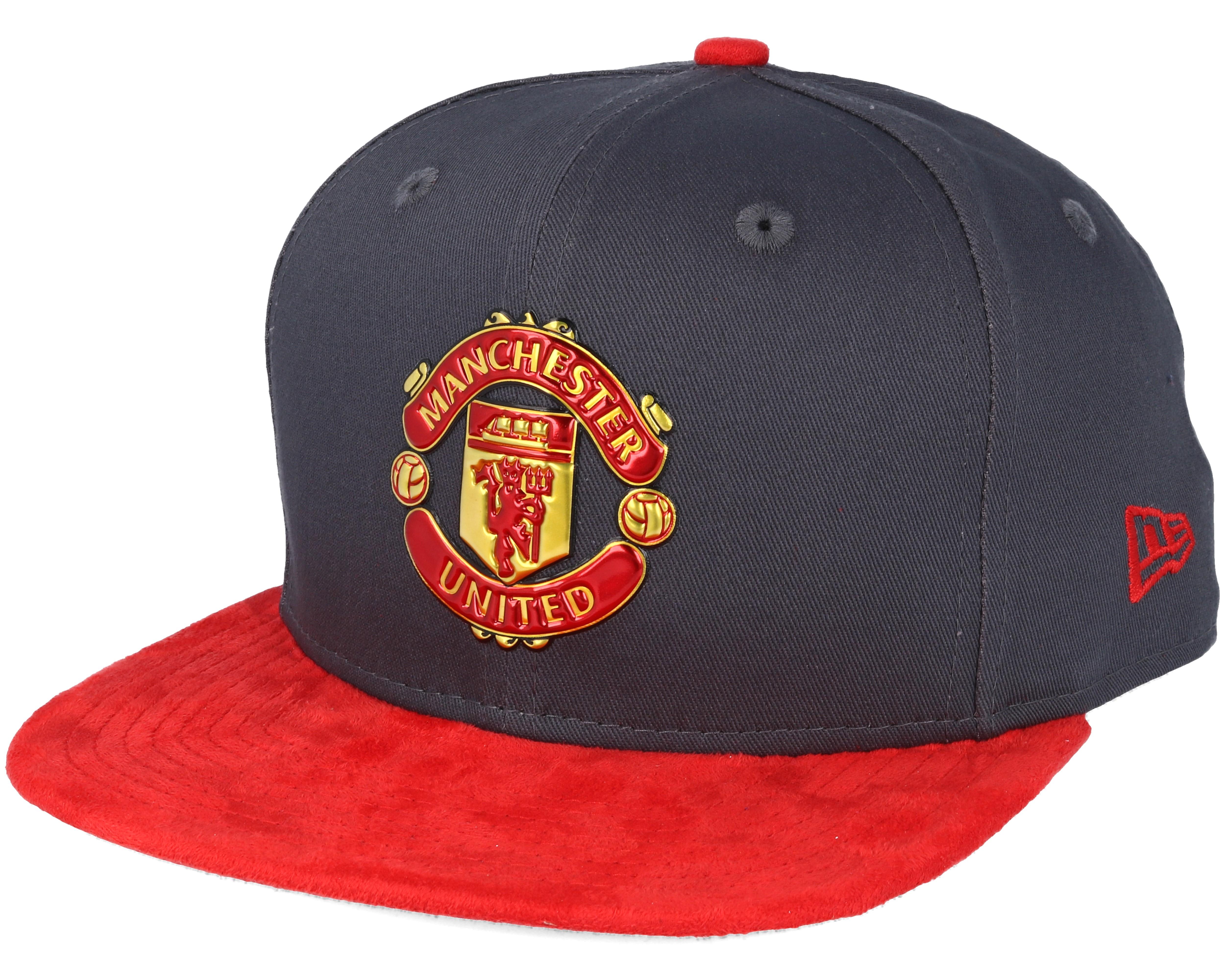 manchester united suede visor 9fifty grey red snapback new era caps. Black Bedroom Furniture Sets. Home Design Ideas