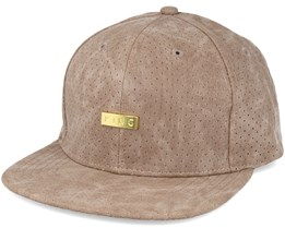 Luxe Pref Crached Leather Brown Snapback - King Apparel