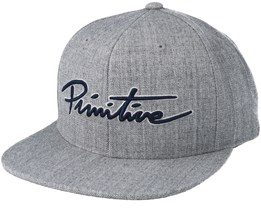 Nuevo Script Snapback Heather Grey/Navy Snapback - Primitive