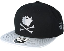 Bones Black/Silver Snapback - Bearded Man