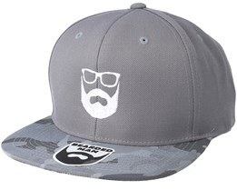 Logo Grey Camo Snapback - Bearded Man