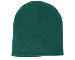 Knitted Short Bottle Green Beanie - Beanie Basic