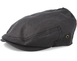 Driver Cap Waxed Cotton Black Flat Cap - Stetson