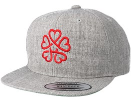 Kids Flower Heart Grey/Red Kids Snapback - Kiddo Cap