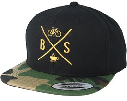Souls Cross Coffe Black/Camo Gold Snapback - Bike Souls