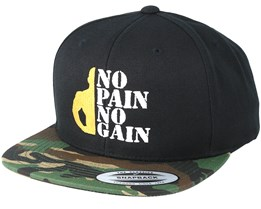 No Pain No Gain Black/Camo Snapback - Berzerk