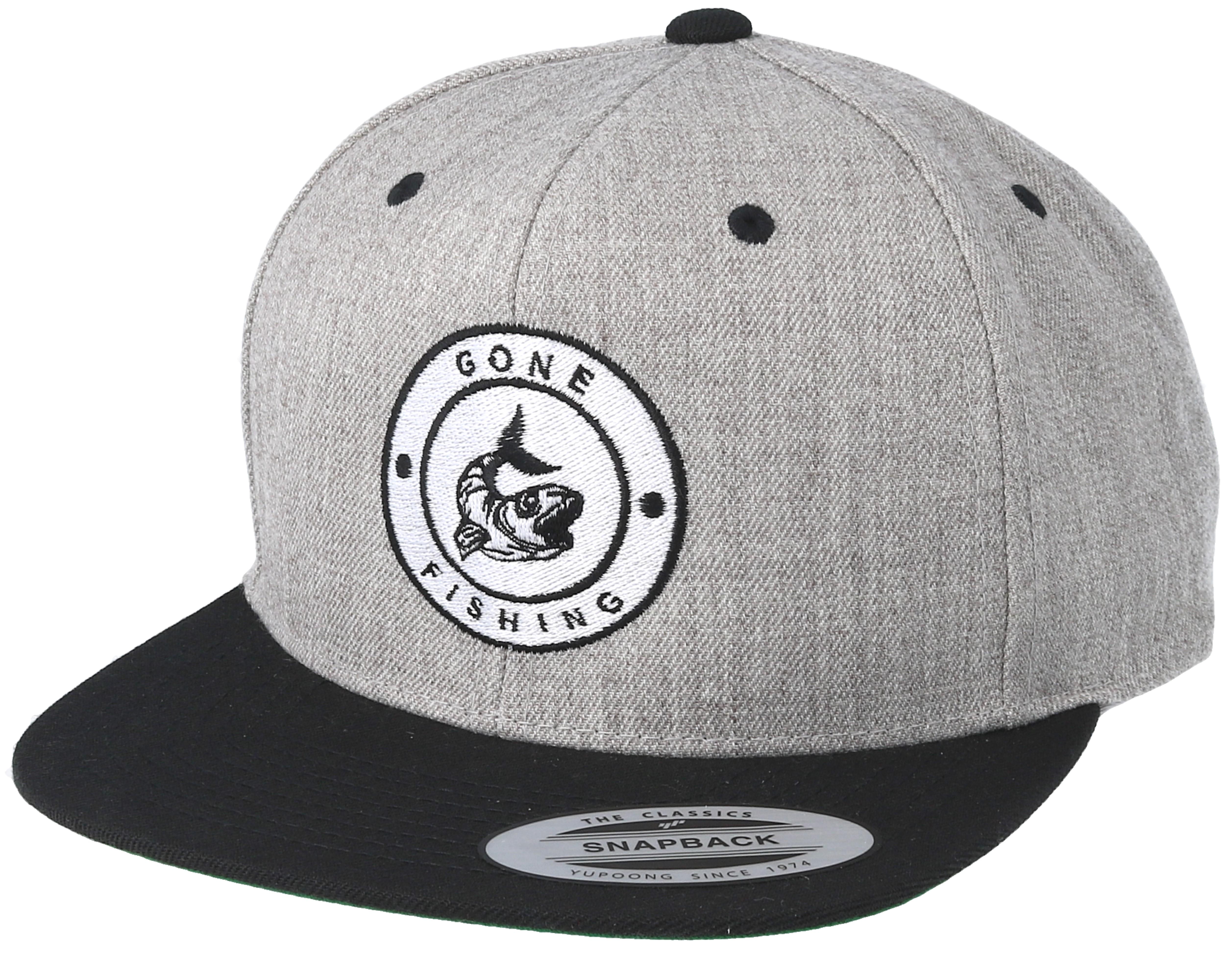 Gone fishing grey black snapback hunter caps hatstore for Fishing snapback hats