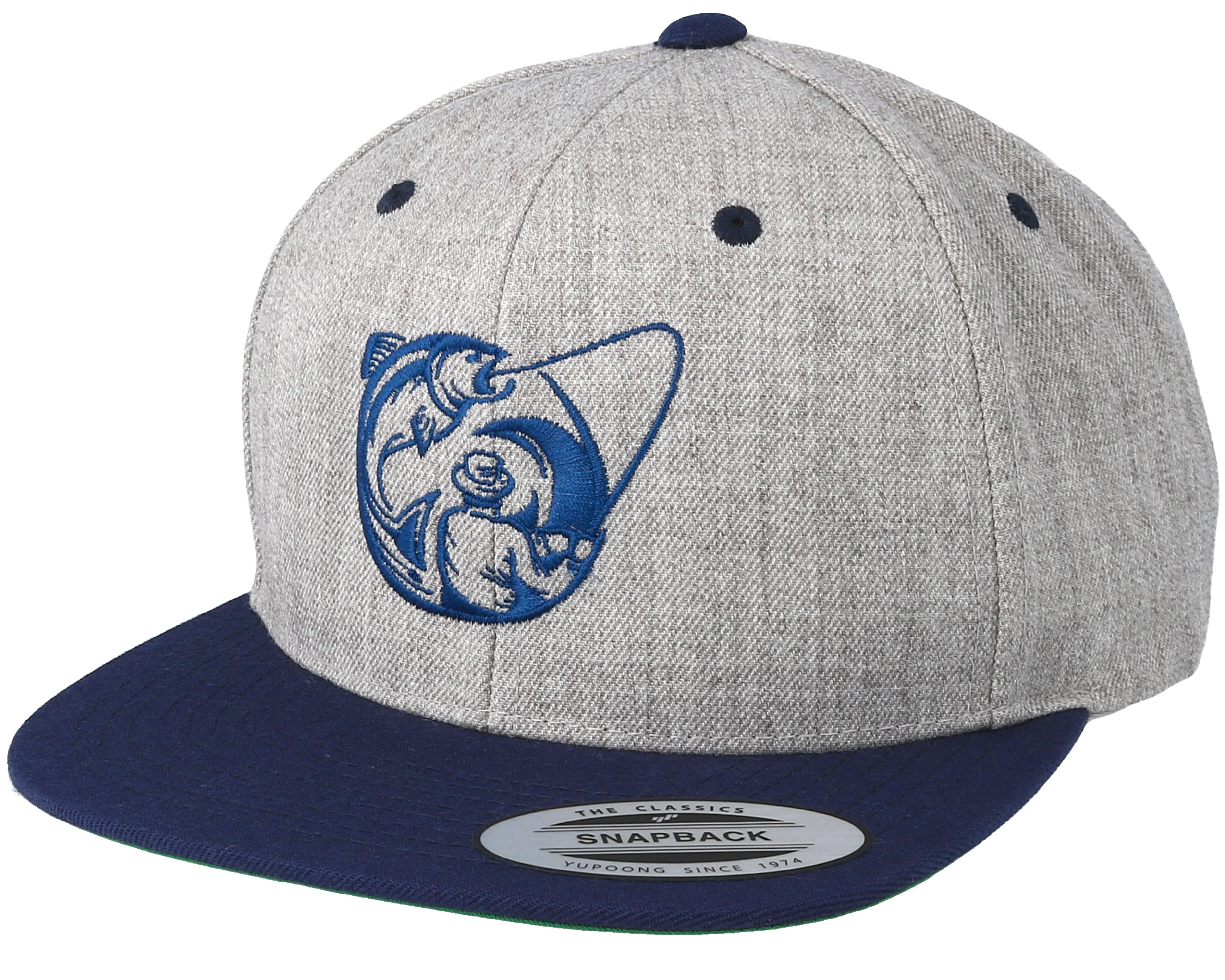 Fishing circle grey navy snapback hunter caps hatstore for Fishing snapback hats