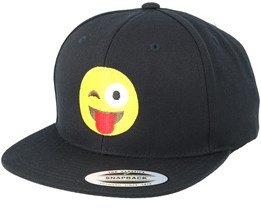 Emoji Tongue Blink Black Snapback - Iconic